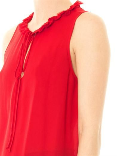 L'Agence Ruffle collar sleeveless blouse