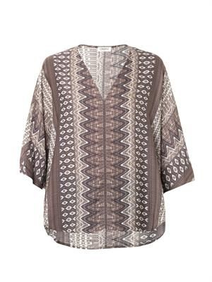 Aztec-print satin crepe top