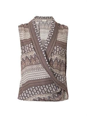 Aztec-print drape top