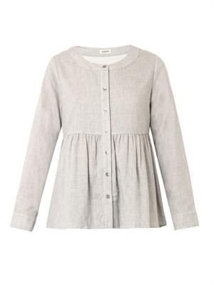 Cotton-linen buttoned top