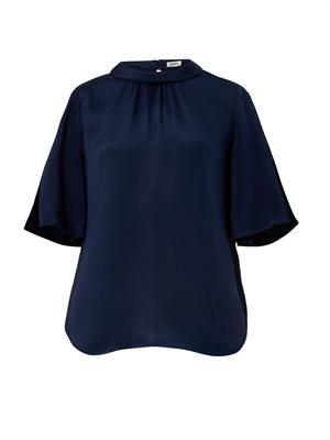 Turn-over collar silk top