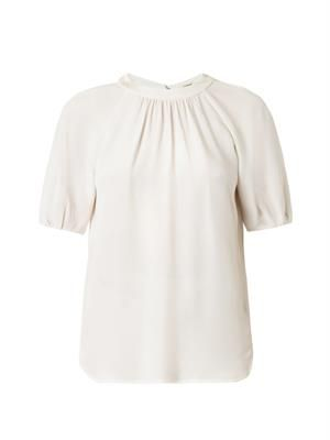 Gathered-neck silk-crepe top