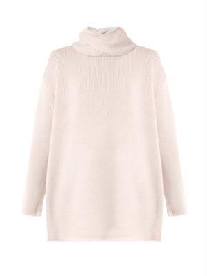 Braided roll-neck wool sweater