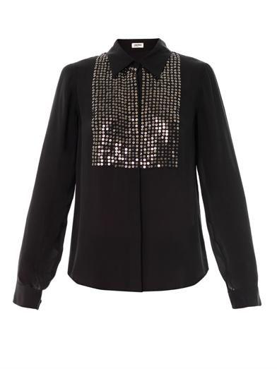 L'Agence Embellished bib silk blouse