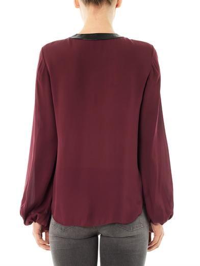 L'Agence Contrast-neckline silk blouse
