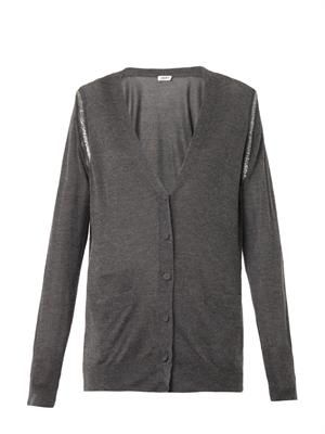 Embellished silk cashmere-knit cardigan