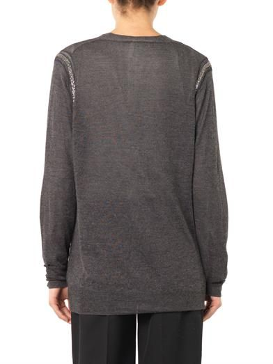 L'Agence Embellished silk cashmere-knit cardigan