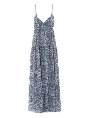 Indigo leopard-print maxi dress