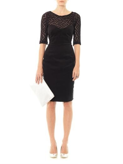 L'Agence Velvet and knitted panel dress