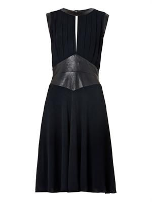 Leather-panel chiffon dress
