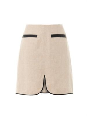 Linen faux-leather trim skirt