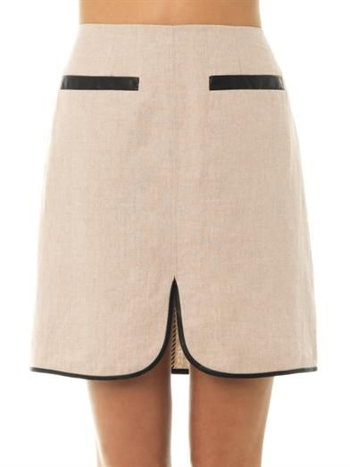 L'Agence Linen faux-leather trim skirt