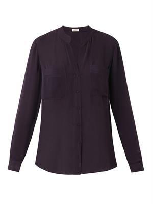 Long-sleeved silk-georgette shirt