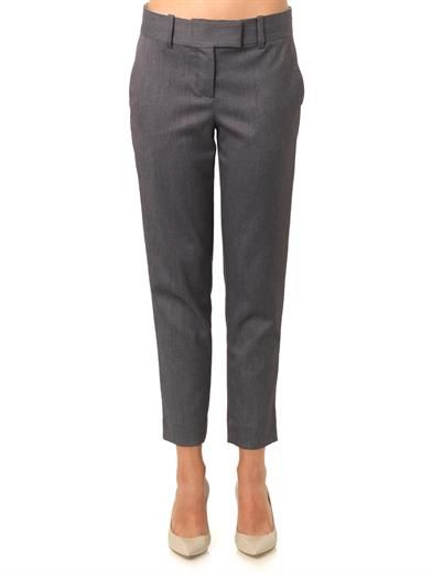 L'Agence Brushed-twill high-rise trousers