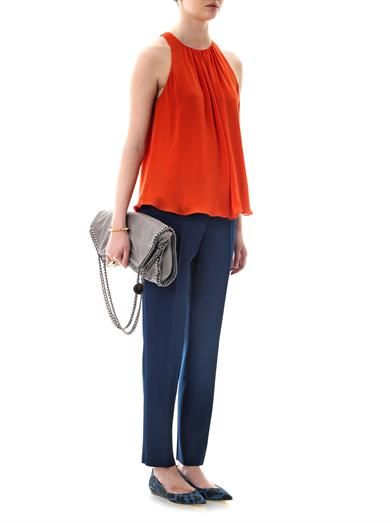 L'Agence Shirred neckline sleeveless blouse