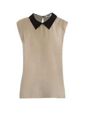 Colour-block silk top