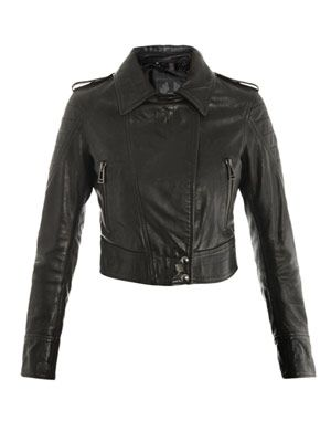 Seaton cropped leather jacket