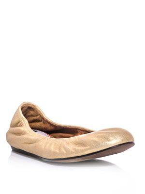 Metallic-leather ballet flats