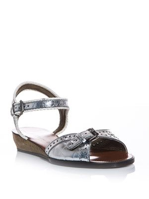 Metallic buckle front sandals