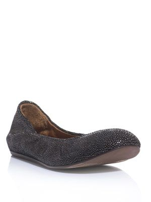 Stingray textured-leather ballet flats