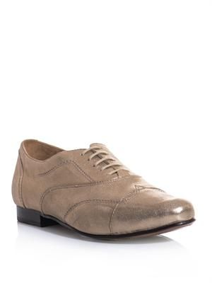 Metallic leather brogues