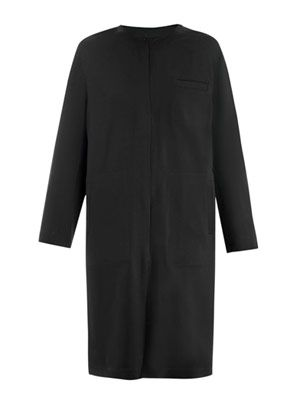Collarless lightweight coat