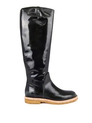 Burnished leather knee-length boots
