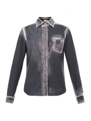 Trace-print crepe blouse