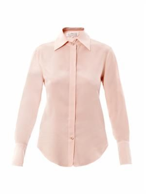 Point-collar silk shirt