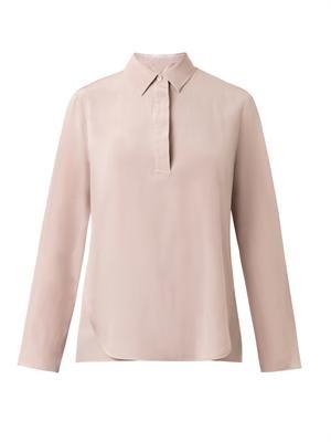 Point-collar silk shirt