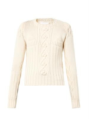 Multi-knit wool sweater