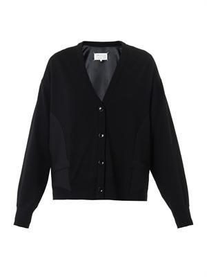 Tuxedo-panel wool-knit cardigan