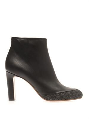 Contrast-edge leather ankle boots
