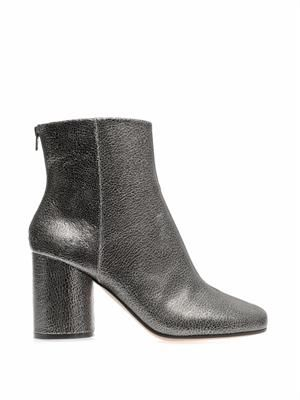 Cracked-leather ankle boots