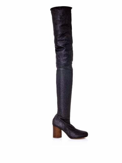 Maison Martin Margiela Thigh-high stretch-twill boots
