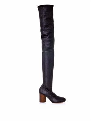 Thigh-high stretch-twill boots