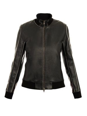 Exposed-seam leather bomber jacket