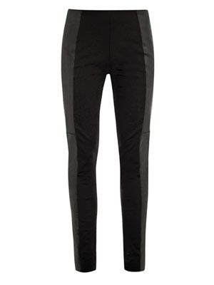 Stretch-leather and jersey leggings