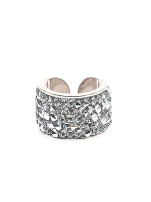 Swarovski crystal wide-band ring