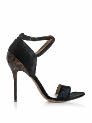 Ponyskin and tortoiseshell high heel sandals