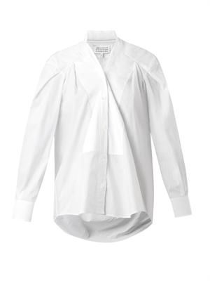 Bib-front pinstripe shirt