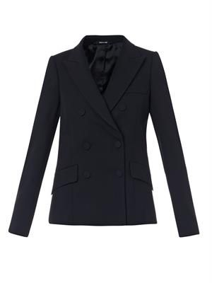 Wool diagonal-twill blazer