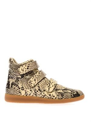 Printed leather high-top trainers