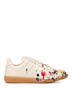 Paint-splatter leather low-top trainers