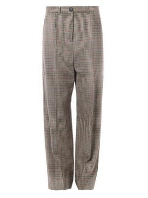Hound's-tooth wool wide-leg trousers