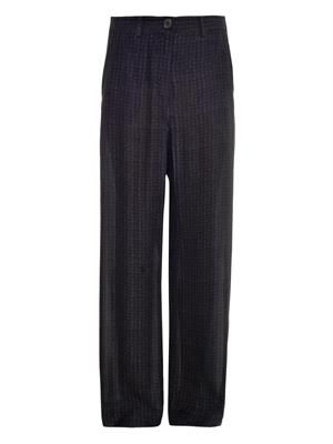 Tweed-print wide-leg silk trousers