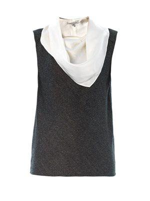 Bandana neck-tie wool top