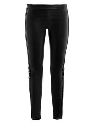 Velvet stripe leather leggings
