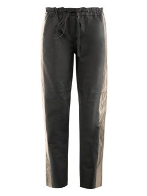 Drawstring leather trousers