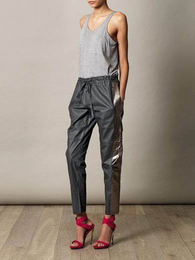Les Chiffoniers Drawstring leather trousers